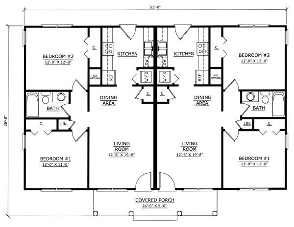 Image result for one story 2 bedroom duplex floor plans One story duplex house plans