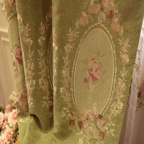 Royal French Rose Green Curtain In 2020 Rose Curtains