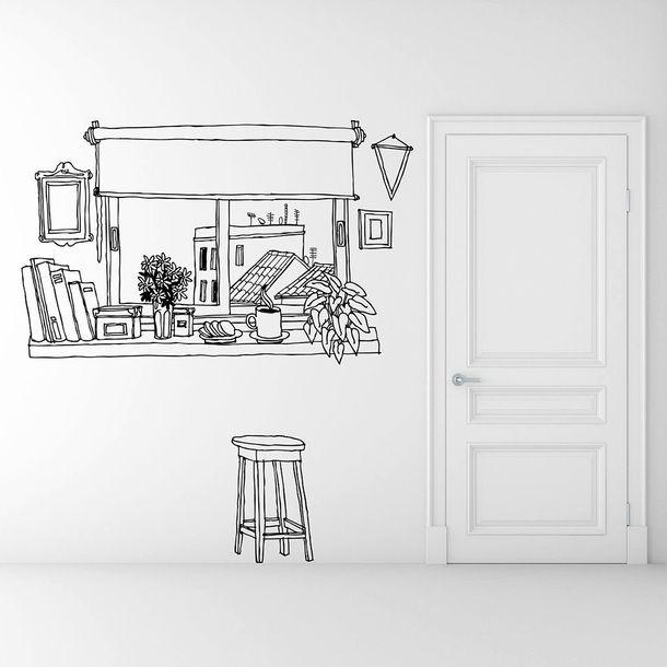 Coffee Window Wall Sticker Landscape Wall Stickers Pinterest Sovrum, Väggdekoration och Design