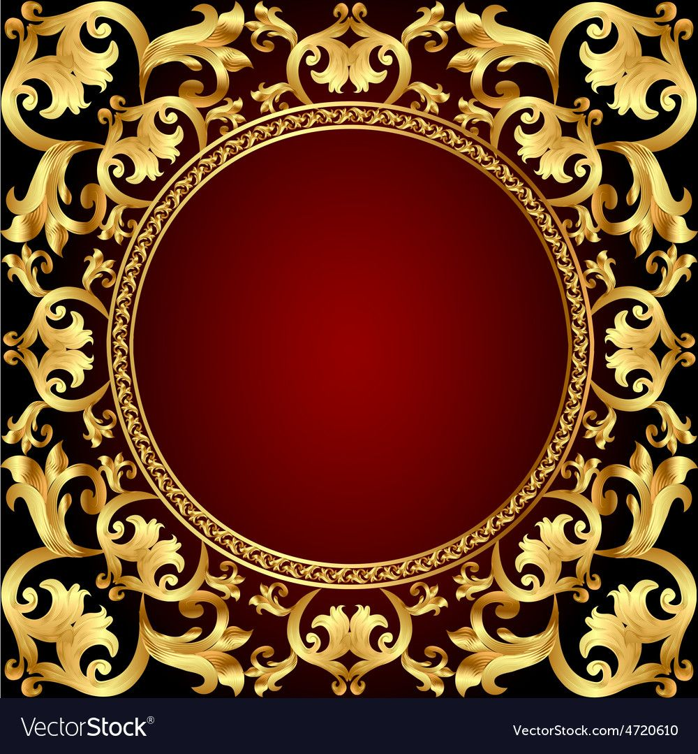 Romantic Background Frame With Gold Vector Image On Vectorstock Gold And Black Background Romantic Background Vintage Frames Vector