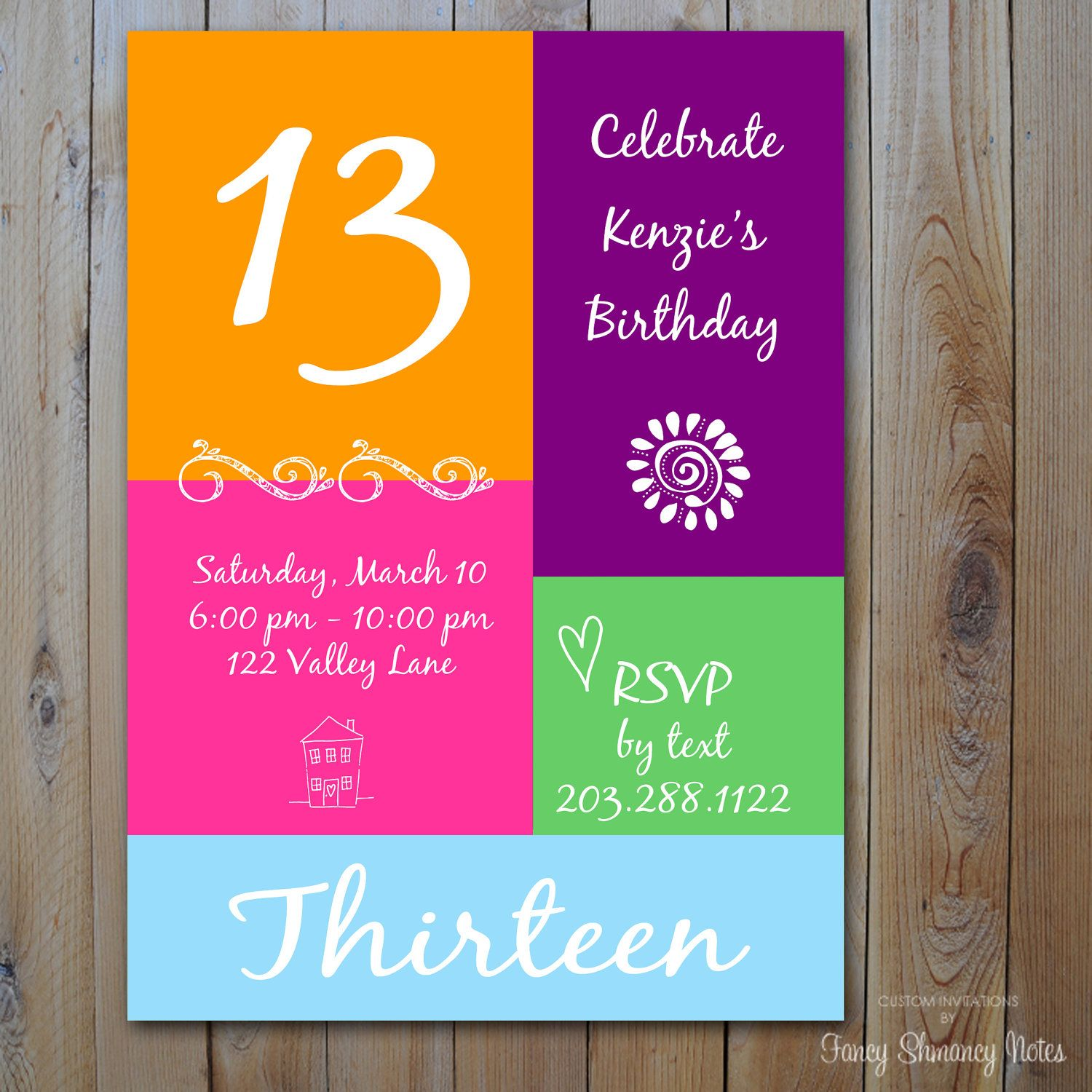 13th Birthday Invitation Girls Birthday by fancyshmancynotes – 13th Birthday Greetings