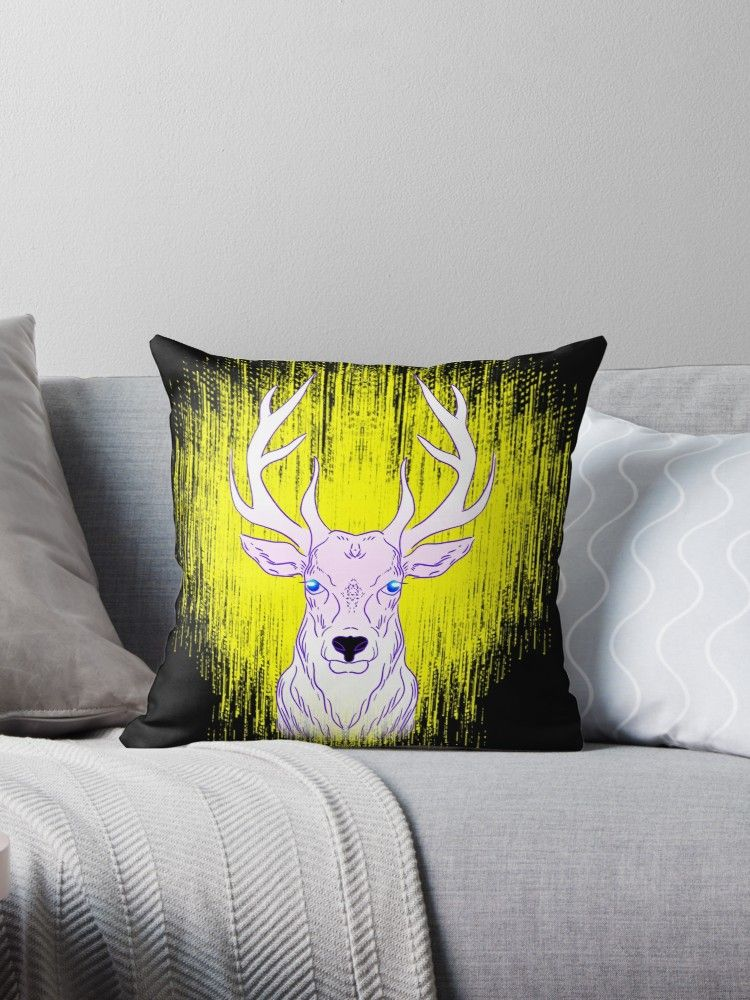 Wild Deer Stag In Golden Glowing Spotlight Animal Lover Gift Ideas Throw Pillow By Ivyartistic In 2020 Gifts For Pet Lovers Wild Deer Deer Stags