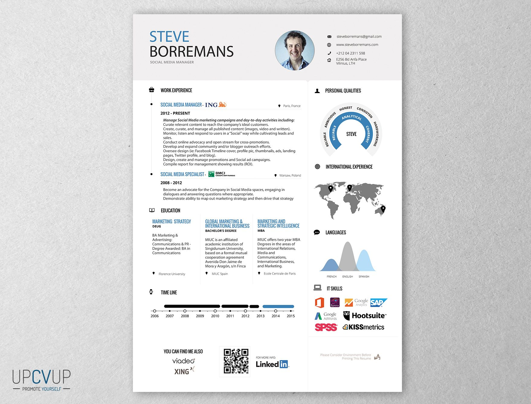 Social Media Manager CV Moderne   UPCVUP  Resume Social Media