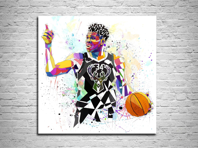 CANVAS PRINT Basketball Art, Milwaukee Bucks Basketball