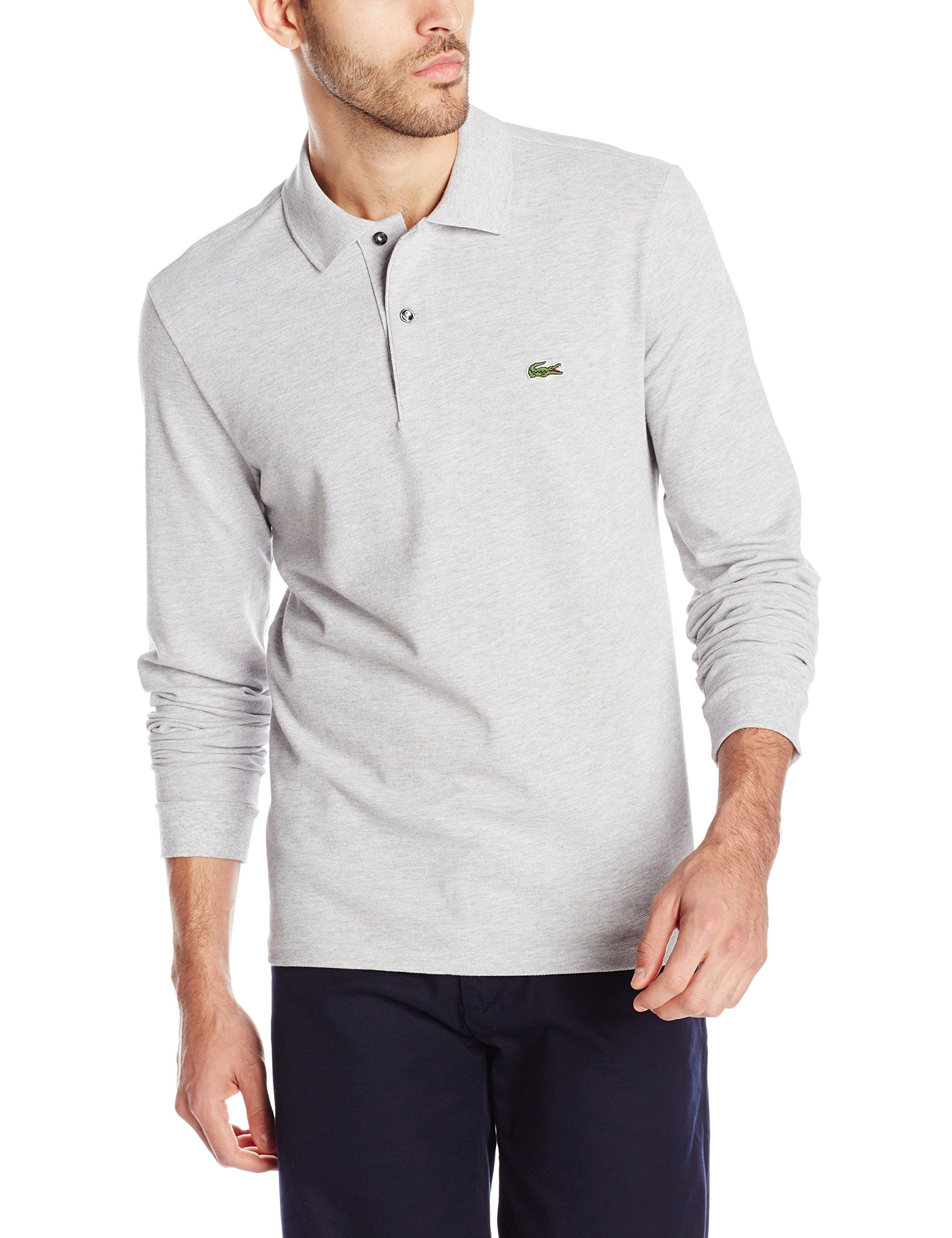 finest selection 7725d c5b80 Lacoste Men s Long Sleeve Chine Classic Pique L.12.12 Original Fit Polo  Shirt, Silver