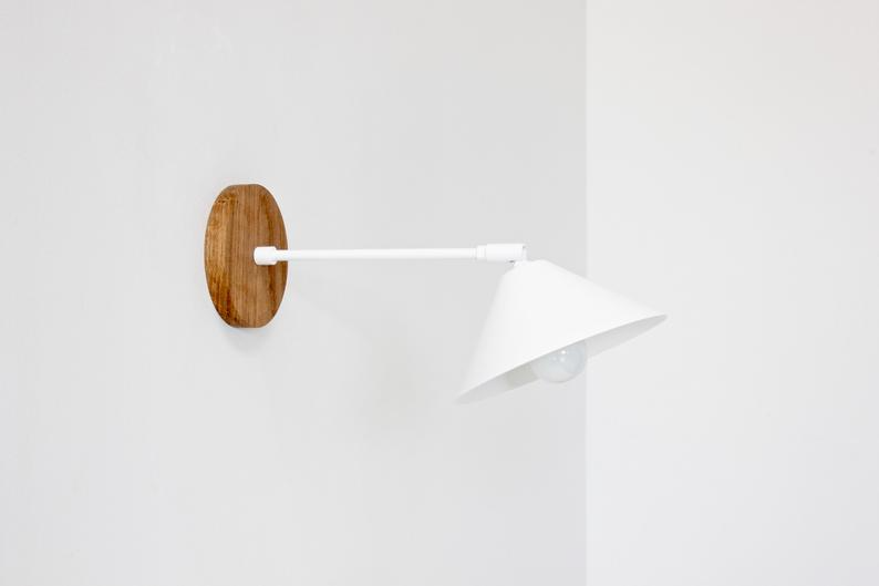Plug In Wall Sconce Mid Century Lamp Vanity Lighting Reading Light Cone Shade Lamp In 2020 Plug In Wall Sconce Bedside Lighting Mid Century Lamp
