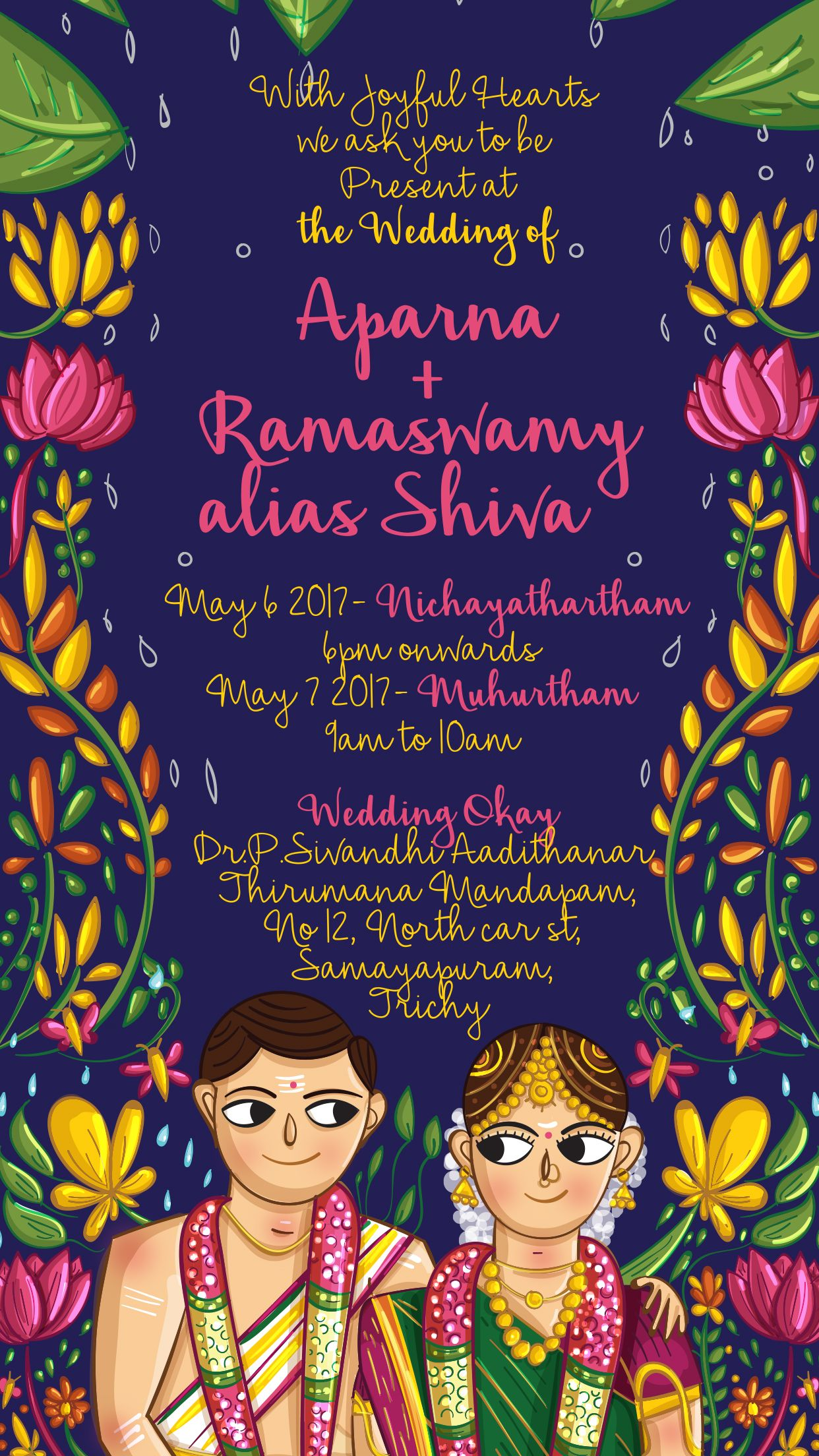Custom Ready Tamil Brahmin Einvite Designed And Illustrated By Scd