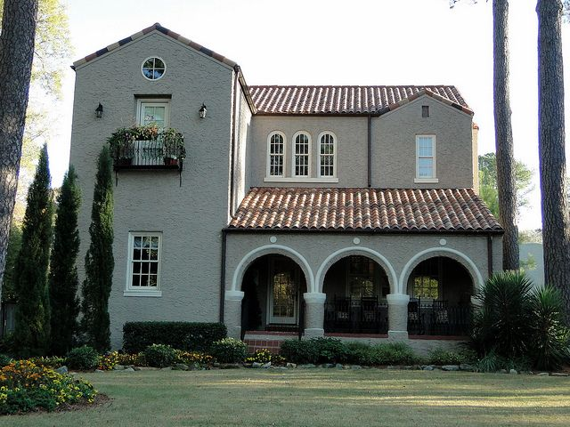 Spanish mission style home homewood alabama alabama for Spanish revival exterior paint colors