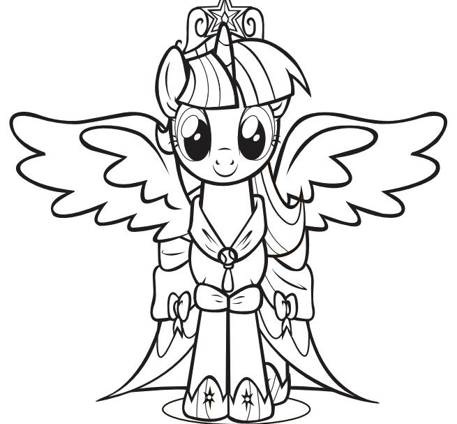 Print the princess twilight sparkle little pony coloring pages and then fill it with crayons or