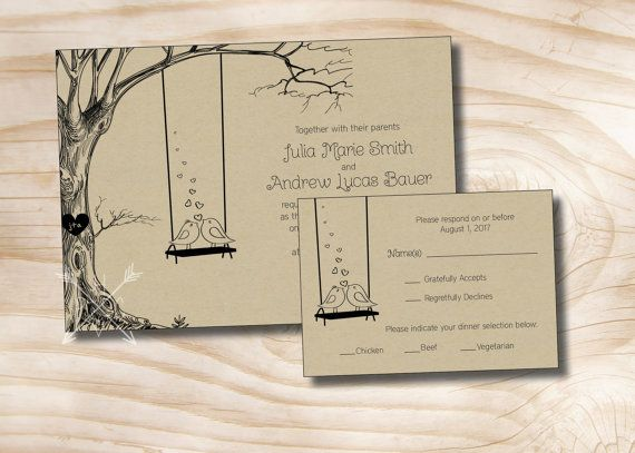 Vintage Tree Swing Lovebirds Kraft Paper By Paperheartcompany