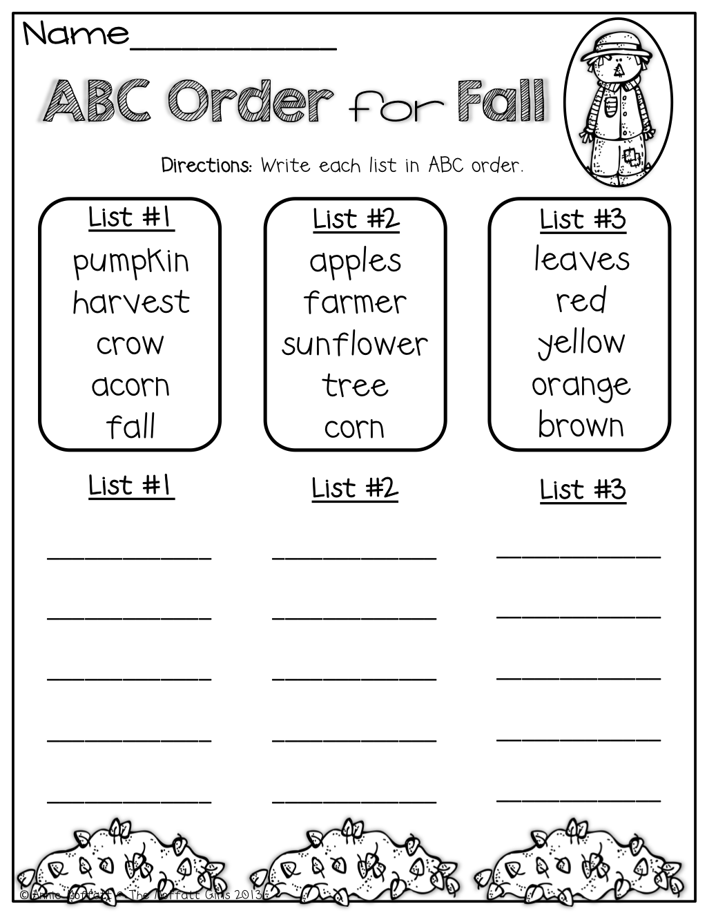 The Moffatt Girls: Fall Math and Literacy Packet (1st Grade)   Abc order  worksheet [ 1325 x 1024 Pixel ]