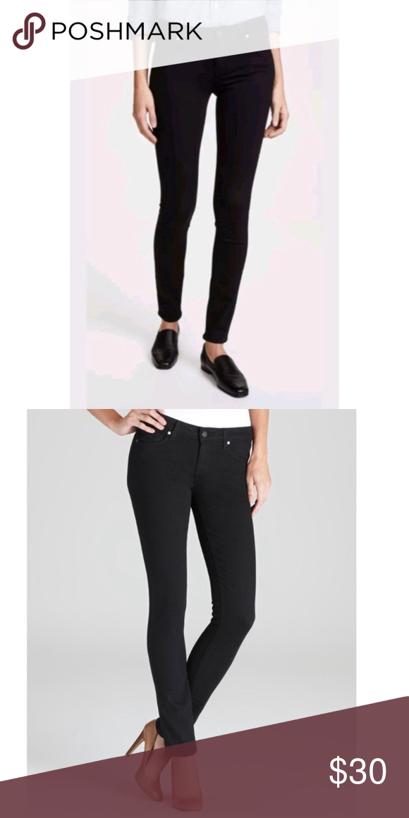 69a14e38b4bd4 Paige Skyline Skinny Leg Black Denim Jeans Waist across laying flat 14  inches Rise 8 Inches