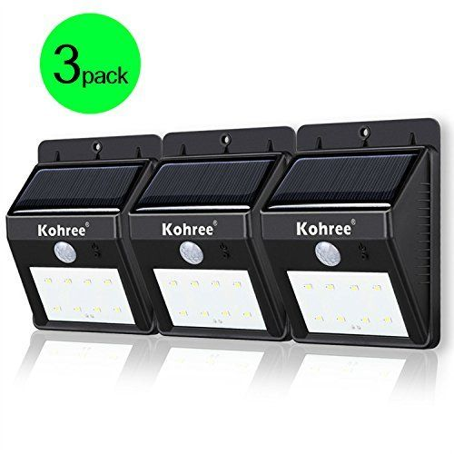 kohree 3 pack of bright led wireless solar powered motion sensor