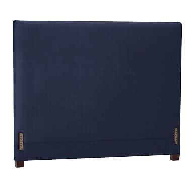 Raleigh Upholstered Square Queen Headboard Without Nailheads, Performance  Tweed Navy