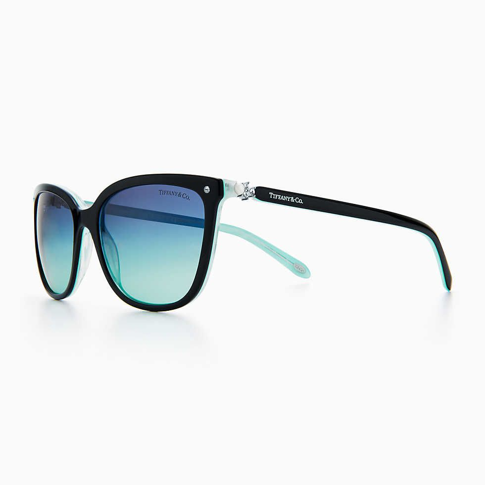 Return to Tiffany® Love square sunglasses in black and Tiffany Blue acetate. 879d340c5c