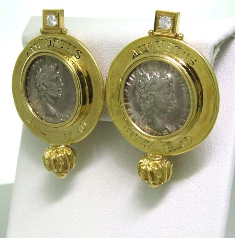 Elizabeth Gage Ancient Coin Diamond Gold Earrings