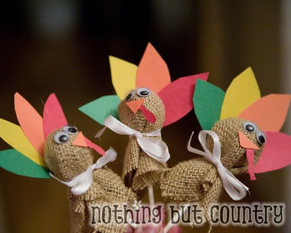 Turkey Lollipop Covers -   25 ribbon crafts thanksgiving