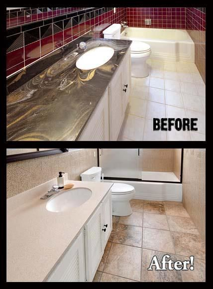 Bathroom Transformed Cultured Marble Countertops Refinish