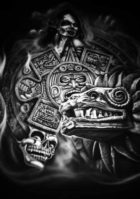 aztec chicano tattoos arte lowrider tattoo azteca mexican warrior designs drawings drawing culture mexico tribal face pride cool mayan symbols