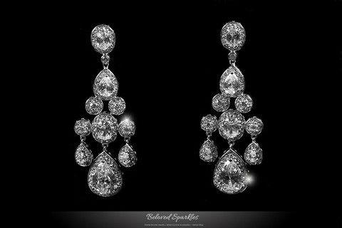 ARIANA CLUSTER LINEAR CHANDELIER EARRINGS | 8 Carat | Cubic Zirconia | CZ | Faux Diamond