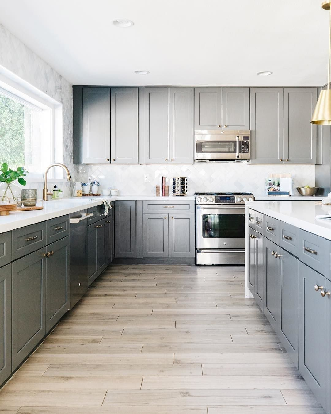 lovely grey cabinets and white washed wood look floor with images grey tile kitchen floor on kitchen cabinets grey and white id=48192