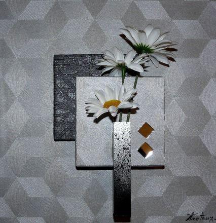petit tableau floral de 30 x 30 cm de couleur gris m tallis avec formes g om triques et. Black Bedroom Furniture Sets. Home Design Ideas