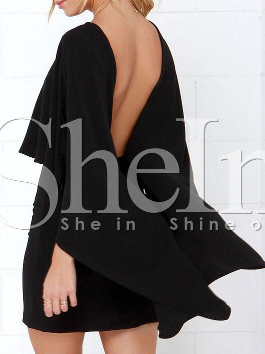 Vestido negro manga murcielago