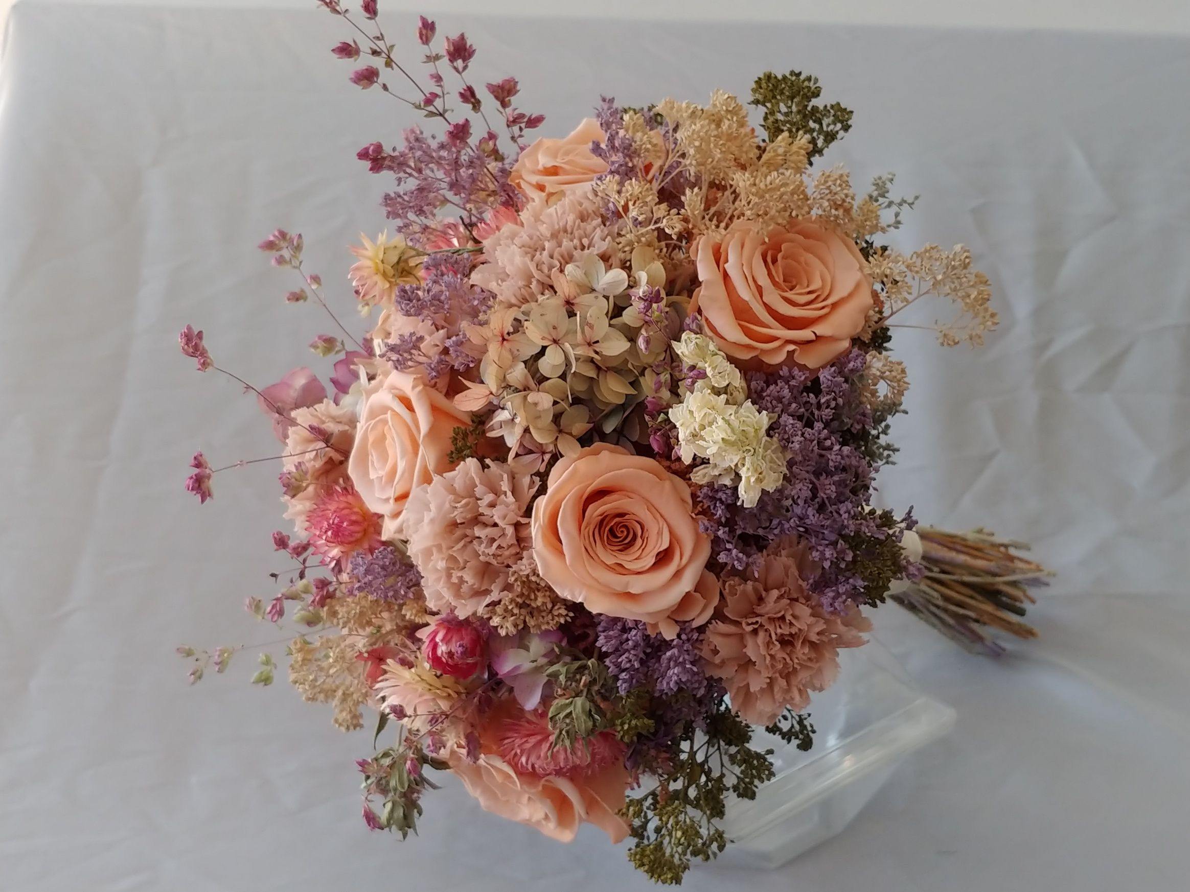 Peach Wedding Bouquet Made From Dried And Preserved Roses