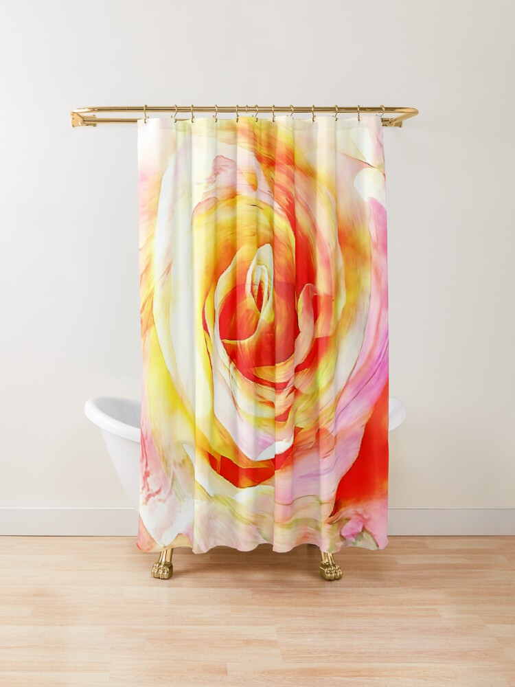 Pink And Yellow Rose Flower Shower Curtain By Anna Lemos In 2020