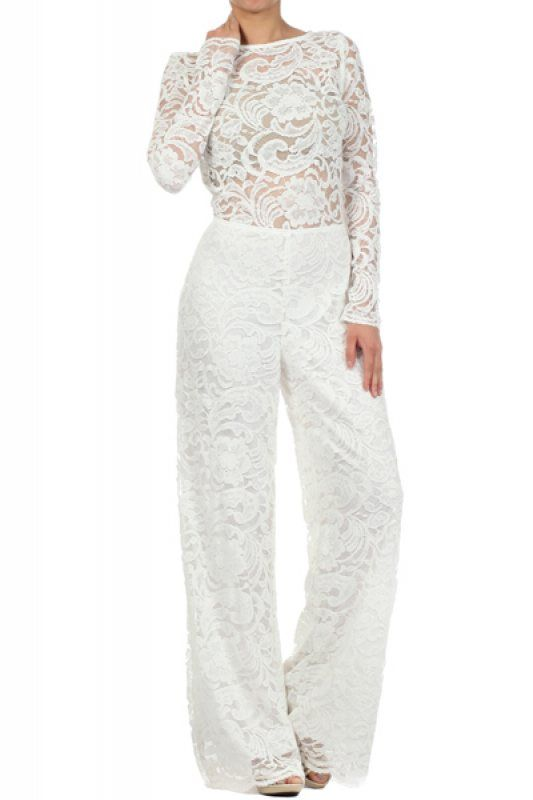 f67e32f5cc99 White Full Length Long Sleeve Lace Jumpsuit With A Boat Neckline (FREE  SHIPPING)