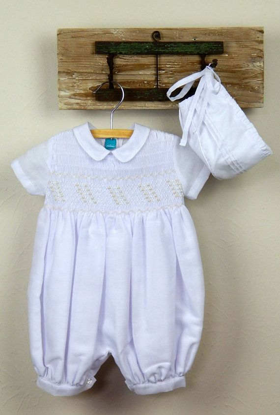 51eefd752e8b White cotton baby boy outfit with bonnet - smocked baby boy romper ...