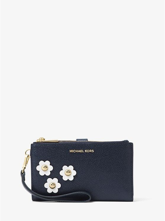d6f944c5dc11 Michael Kors Adele Floral Appliqué Leather Smartphone Wristlet -  Admiral/Optic White - MK263BG