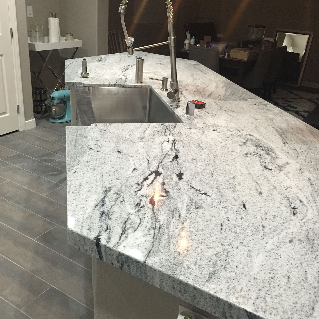 Kitchen Remodel White Cabinets White Viscount Granite Apron Sink Zuhne Sink And Faucet Whitegranite Luxury Kitchen Design Kitchen Remodel Wood Plank Tile