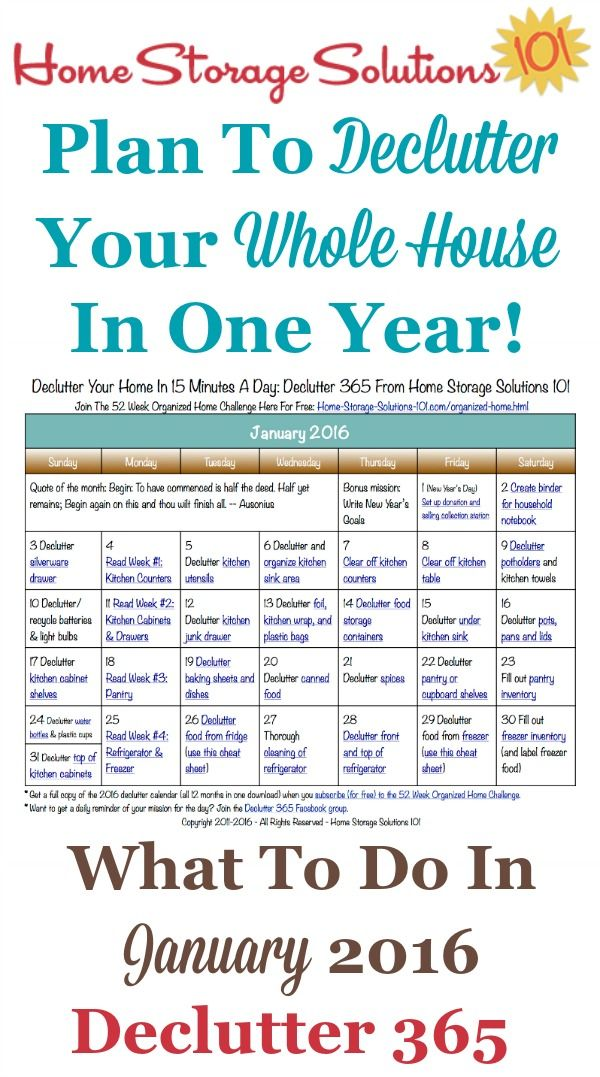 Free printable January 2016 decluttering calendar with daily 15 ...