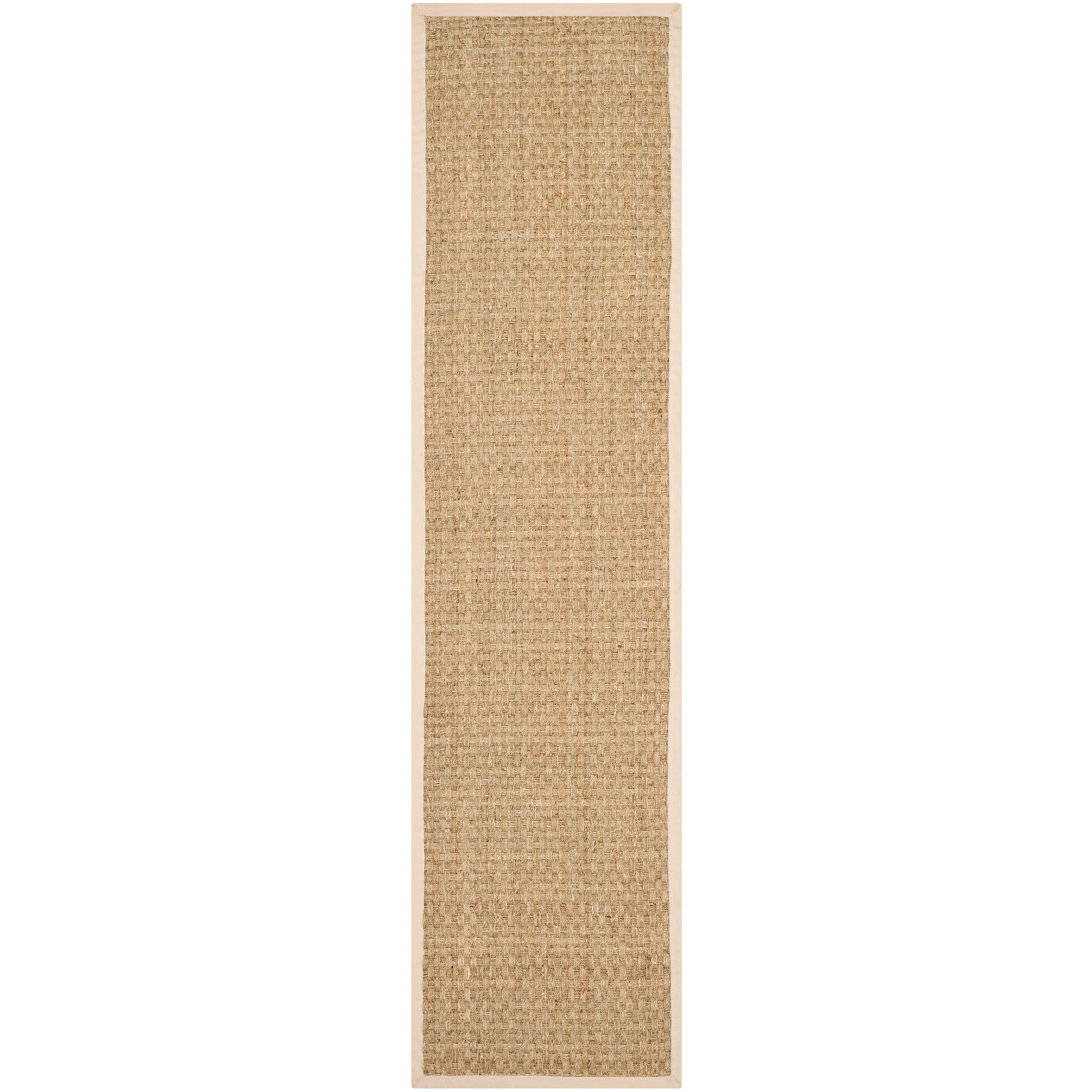 <li>Add interest to your home decor with a hand-woven runner</li> <li>Rug features a casual pattern with a natural background and beige border</li> <li>Runner is crafted of natural sea grass with 100-percent cotton canvas backing</li>