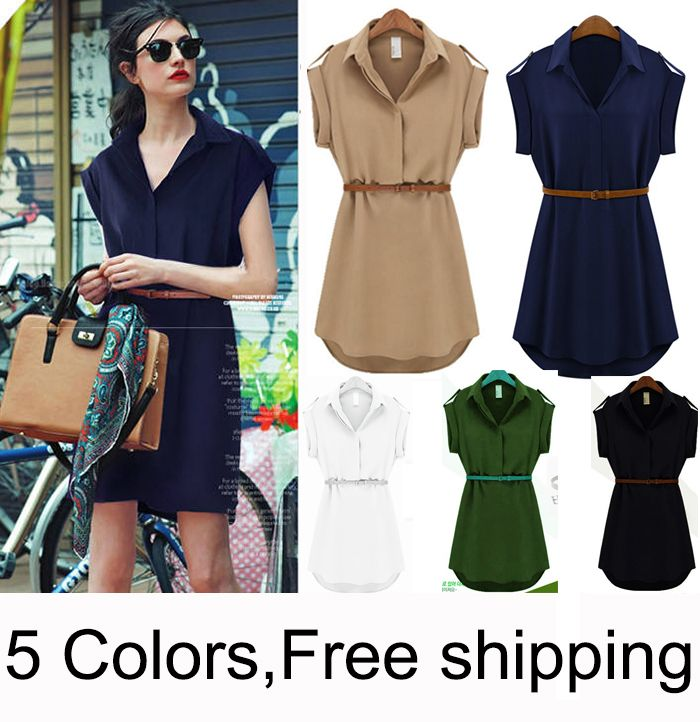 envío gratis 2014 nueva moda venta caliente verano las mujeres gasa camisa ocasional vestido blanco negro verde azul más tamaño sml xl xxl en Vestidos de Moda y Complementos en AliExpress.com | Alibaba Group