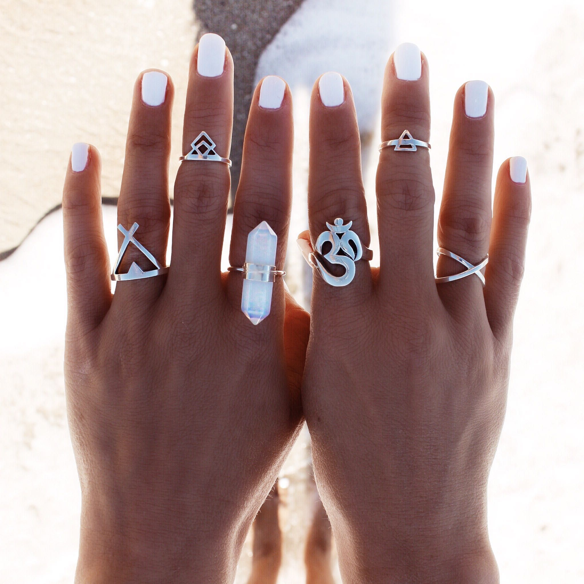 GypsyLovinLight: Exclusive Double Point Crystal Ring – Opalite