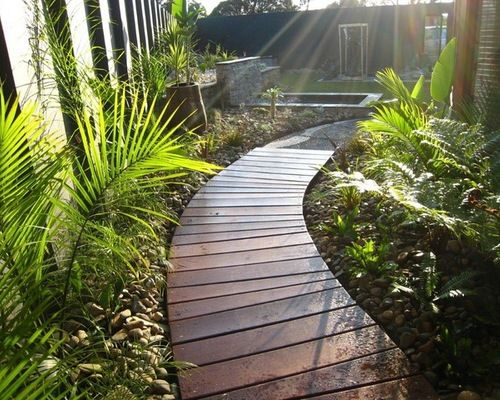 Inexpensive Hardscape Ideas Curved Wooden Walkway Home Design Ideas, Pictures, Remodel