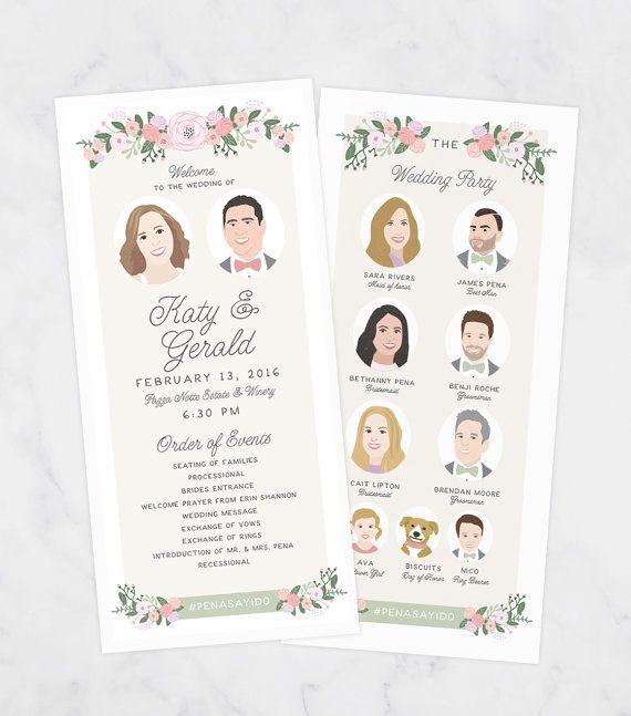 Wedding Programs Printed with Wedding Party Portraits Fun Wedding