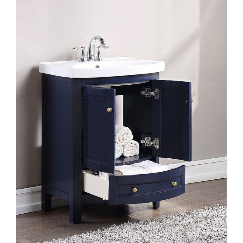 Thibeault 24 Single Bathroom Vanity Set In 2021 Single Bathroom Vanity Bathroom Vanity Blue Bathroom Vanity