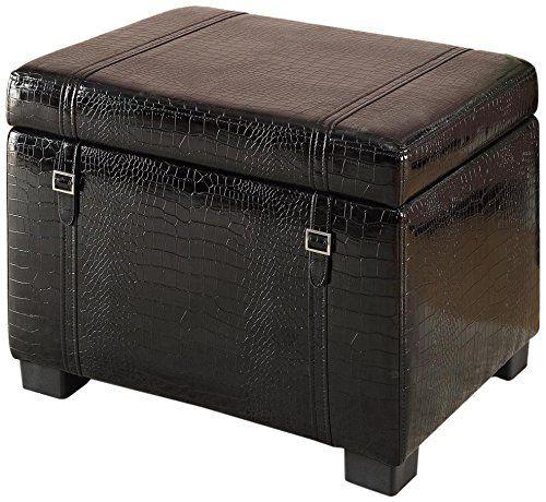 Homestar Furniture Faux Leather Storage Ottoman In Black Crocodile Homestar  Furniture Http://www