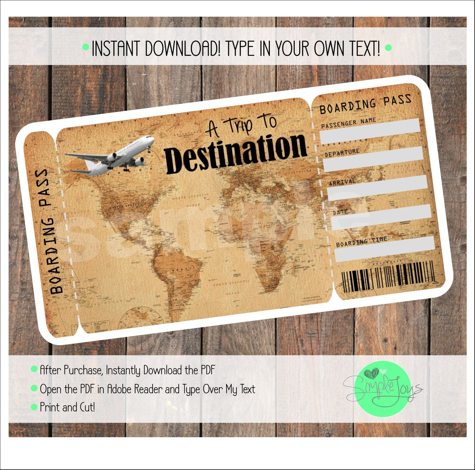 Printable Vacation Surprise Ticket Boarding Pass Vintage Map