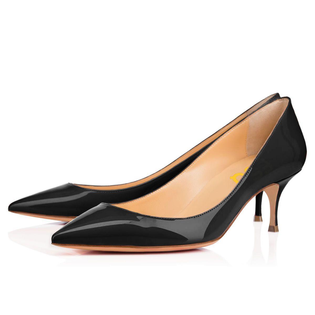 Black Kitten Heels Pointy Toe Patent Leather Office Heels By Fsj Heels Black Kitten Heels Office Heels