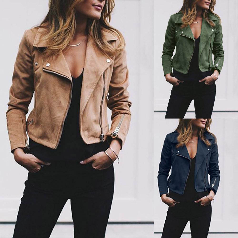 Retro Rivet Zip Up Bomber Casual Outwear Jacket Leather Jackets Women Casual Outwear Womens Fashion Jackets [ 1000 x 1000 Pixel ]