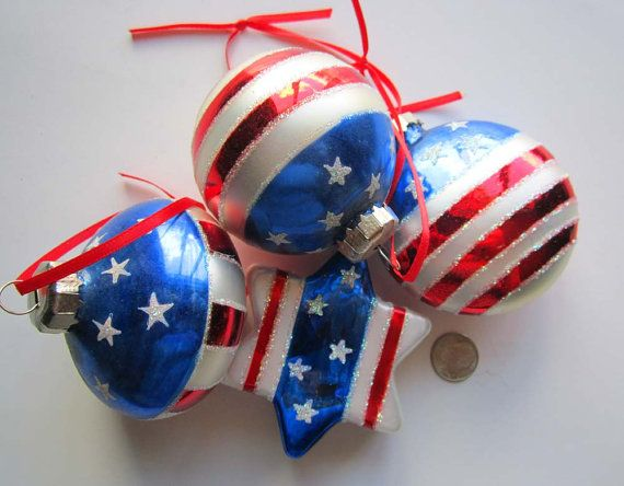 Patriotic ornaments red white blue glass stars stripes for White tree red ornaments