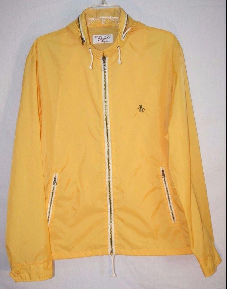 Men's Original Penguin by Munsingwear Rain Jacket Windbreaker Yellow Large # OriginalPenguin Men's Fashion Vintage Retro