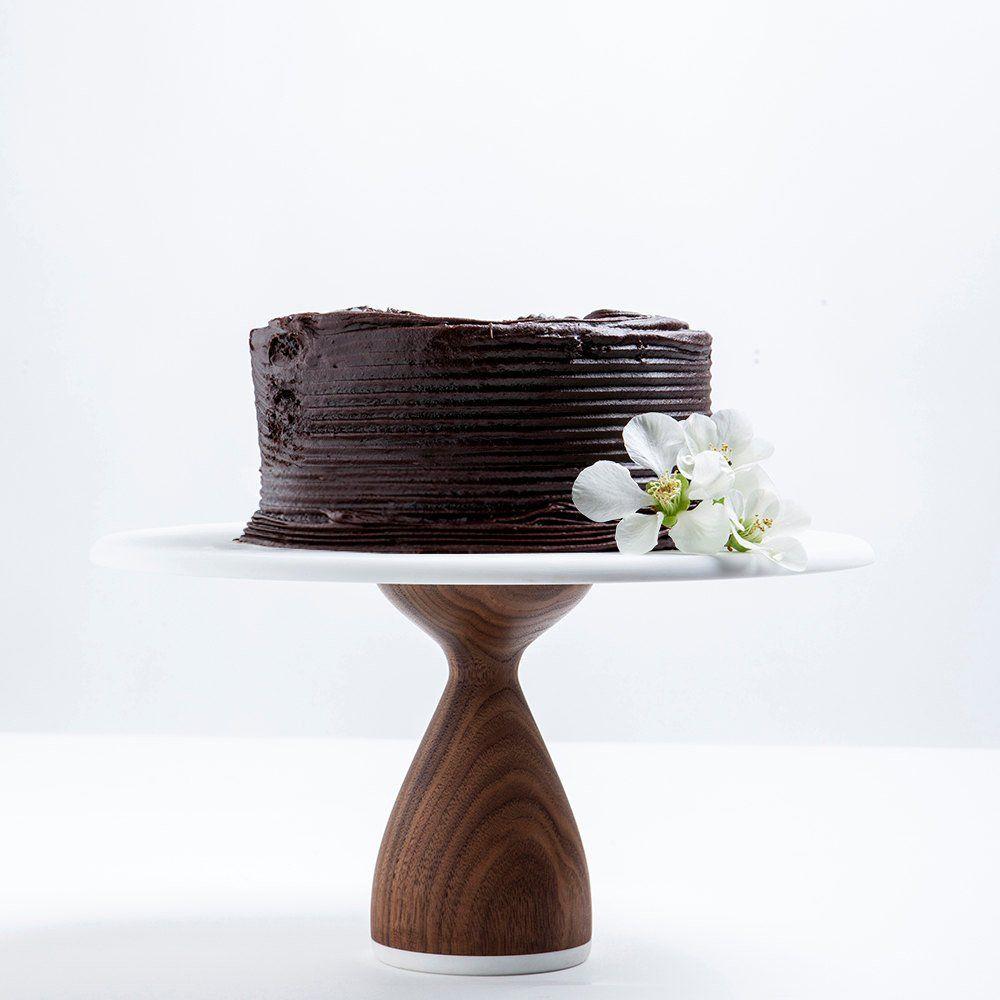Hardwood walnut cake stand thick base walnut cake and kitchens