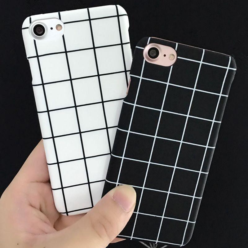 011859e6b3 Fashion Simple Black White Grid Couple Phone Case For iPhone 7 Case For  iPhone 7 Plus 6 6S 5 5S Plus Hard Back Cover Coque Capa