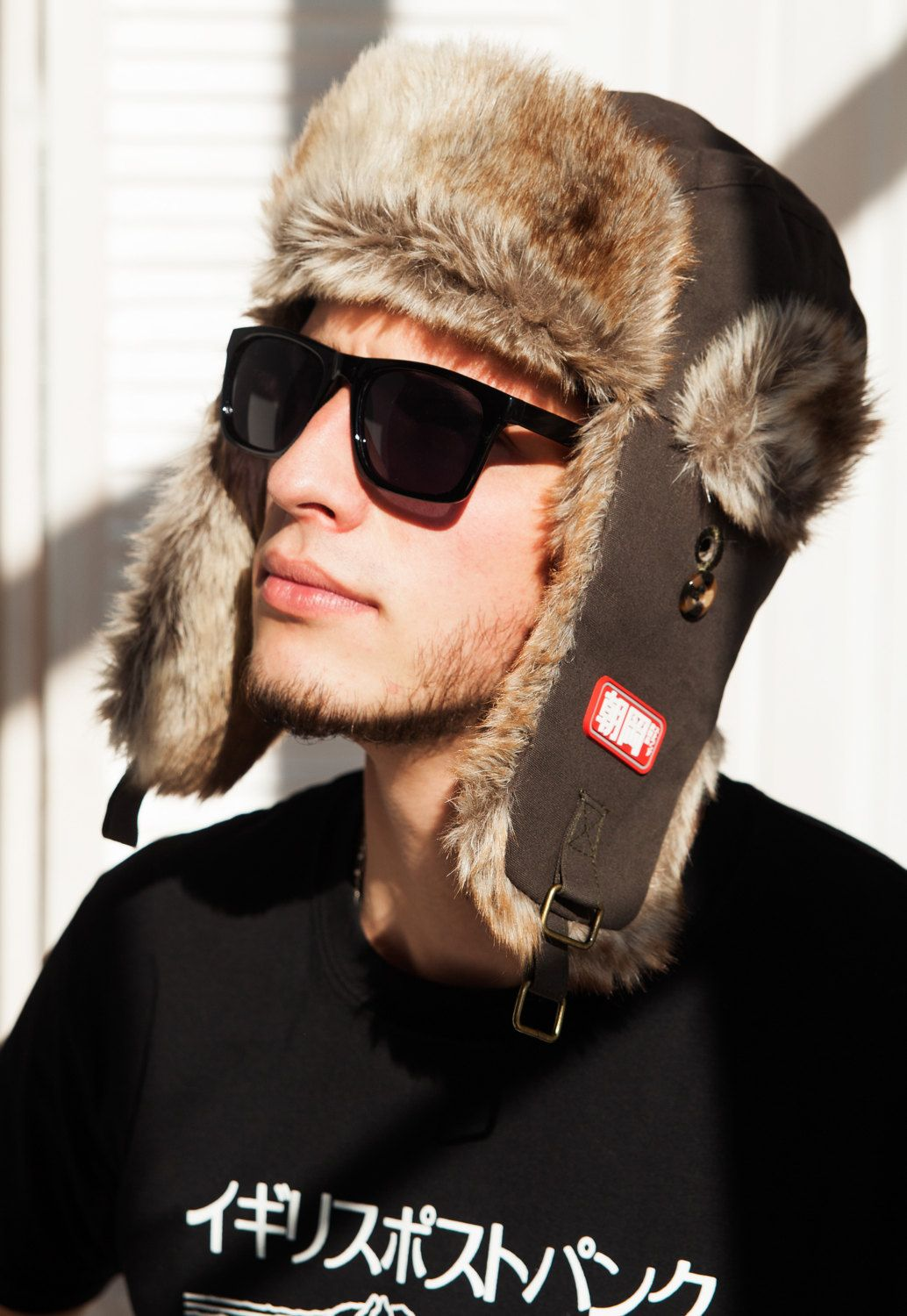 f2ad06afdc3 Japanese Style Trapper Hat - Faux Fur Bomber Russian Hat Ushanka Mens  Womens…