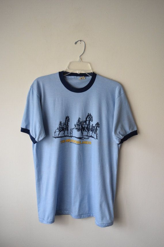 70s NJ Meadowlands Racetrack DOUBLE-Sided Blue Soft Ringer T-Shirt // New Jersey Pride, XL Screen Stars Tee // Retro Hipster Grunge Style